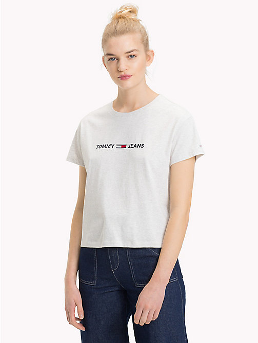 TOMMY JEANS Cropped Logo T-Shirt - PALE GREY HEATHER - TOMMY JEANS Tops - main image