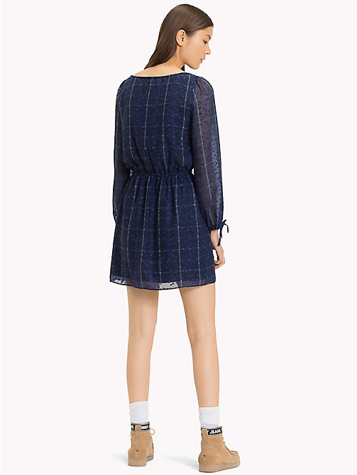 TOMMY JEANS Check Print Boat Neck Dress - BLUE CHECK - TOMMY JEANS Mini - detail image 1