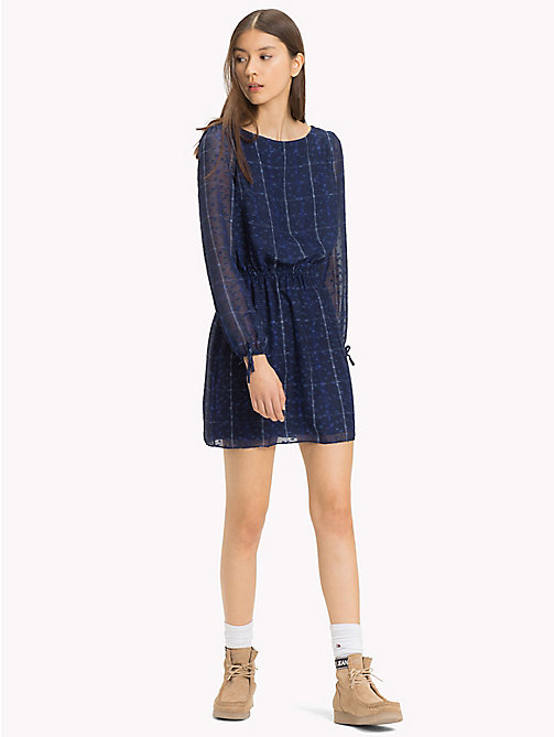 TOMMY JEANS Check Print Boat Neck Dress - BLUE CHECK - TOMMY JEANS Mini - main image