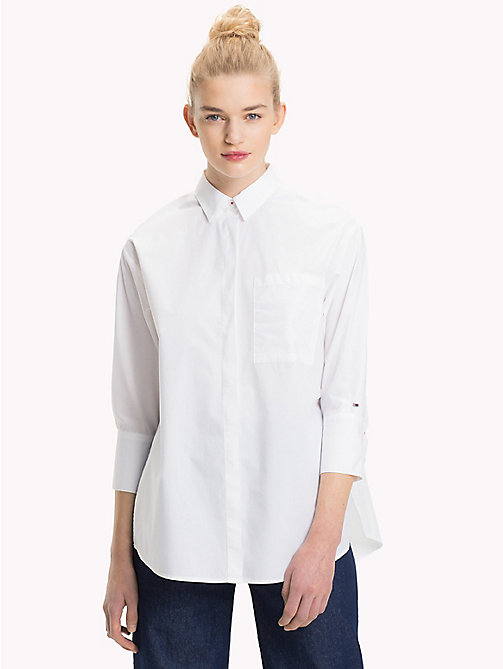 TOMMY JEANS Oversized Cotton Shirt - BRIGHT WHITE - TOMMY JEANS Tops - main image