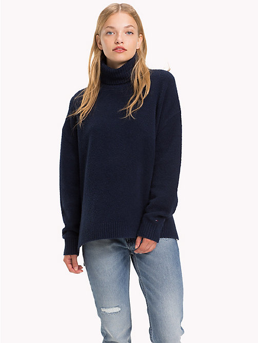 TOMMY JEANS Oversized Turtleneck Jumper - BLACK IRIS - TOMMY JEANS Knitwear - main image