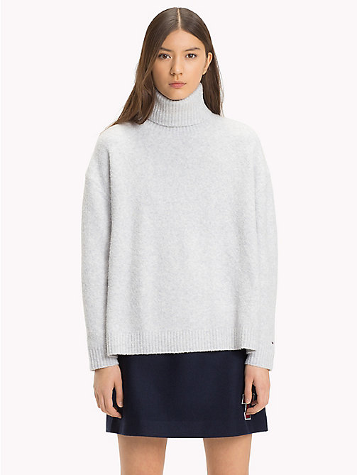 TOMMY JEANS Oversized Turtleneck Jumper - PALE GREY HEATHER - TOMMY JEANS Knitwear - main image