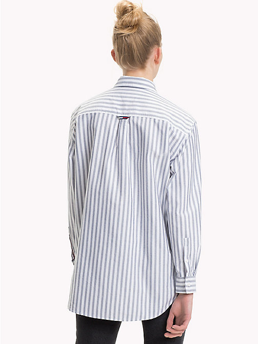 TOMMY JEANS Vertical Stripe Boyfriend Shirt - BLACK IRIS / BRIGHT WHITE - TOMMY JEANS Tommy Classics - detail image 1