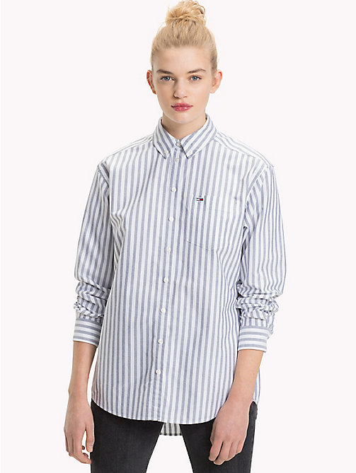 TOMMY JEANS Vertical Stripe Boyfriend Shirt - BLACK IRIS / BRIGHT WHITE - TOMMY JEANS Tommy Classics - main image