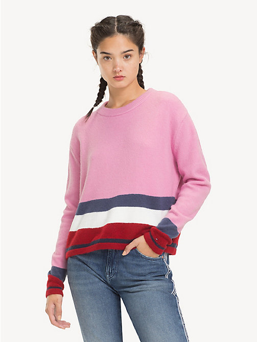 TOMMY JEANS Regular Fit Stripe Jumper - LILAC CHIFFON / MULTI - TOMMY JEANS Knitwear - main image