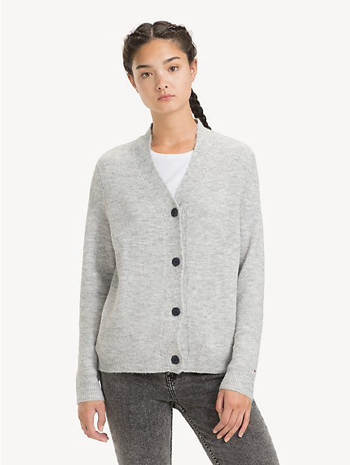 TOMMY JEANS Relaxed Fit V-Neck Cardigan - LT GREY HTR - TOMMY JEANS Knitwear - main image