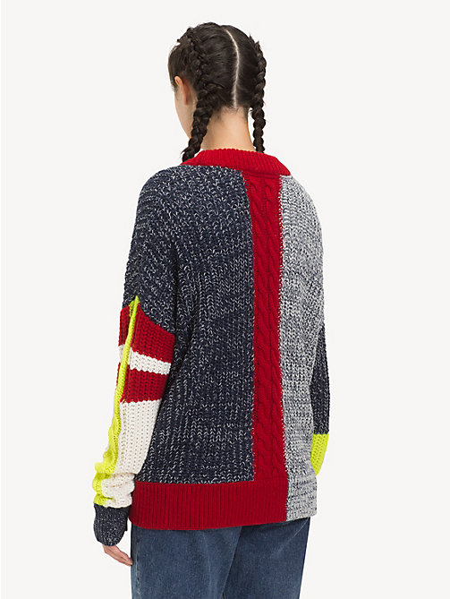 TOMMY JEANS Oversized Patchwork Jumper - BLACK IRIS / MULTI - TOMMY JEANS Knitwear - detail image 1