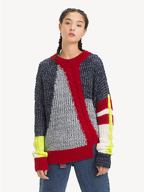 TOMMY JEANS Oversized Patchwork Jumper - BLACK IRIS / MULTI - TOMMY JEANS Knitwear - main image