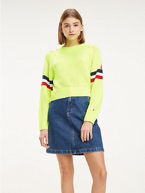 TOMMY JEANS Logo Tape Insert Jumper - SAFETY YELLOW - TOMMY JEANS Knitwear - main image
