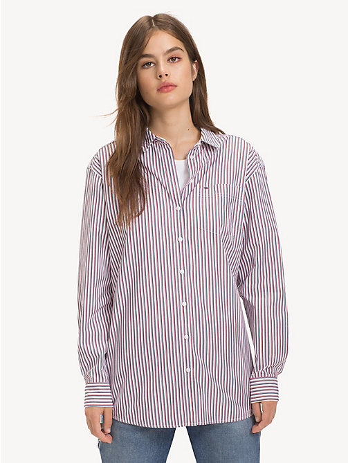 TOMMY JEANS Stripe Boyfriend Shirt - BLACK IRIS / MULTI - TOMMY JEANS Tops - main image