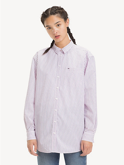 TOMMY JEANS Stripe Boyfriend Shirt - LILAC CHIFFON / MULTI - TOMMY JEANS Tops - main image