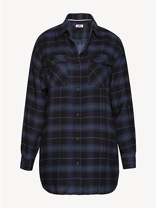 TOMMY JEANS Plaid Check Boyfriend Shirt - BLACK IRIS / CHECK - TOMMY JEANS Tops - detail image 1