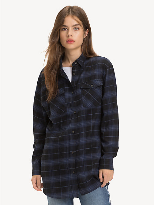 TOMMY JEANS Plaid Check Boyfriend Shirt - BLACK IRIS / CHECK - TOMMY JEANS Tops - main image