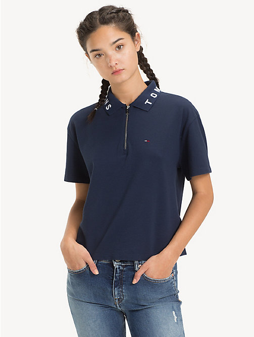 TOMMY JEANS Logo Collar Polo Shirt - BLACK IRIS - TOMMY JEANS Tops - main image