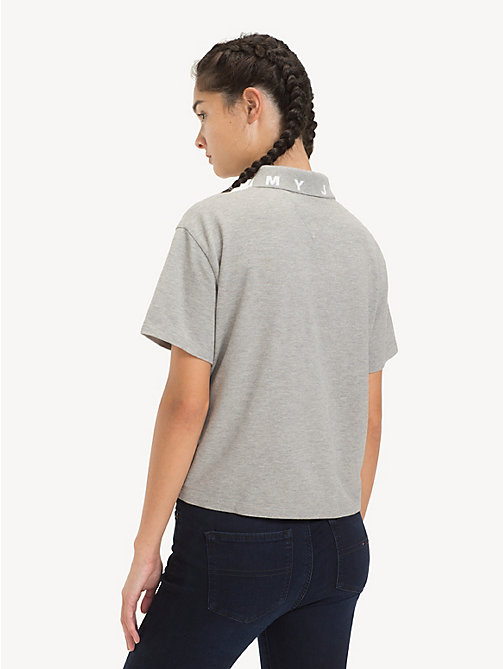 TOMMY JEANS Logo Collar Polo Shirt - LT GREY HTR - TOMMY JEANS Tops - detail image 1