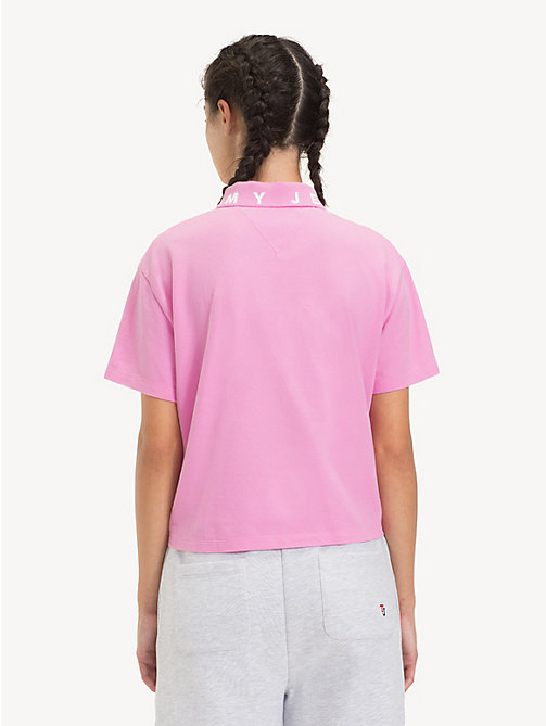 TOMMY JEANS Logo Collar Polo Shirt - LILAC CHIFFON - TOMMY JEANS Tops - detail image 1