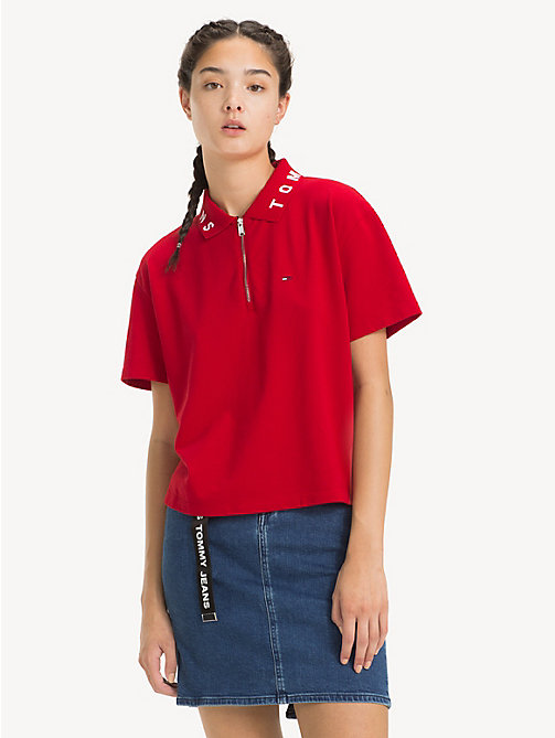 TOMMY JEANS Logo Collar Polo Shirt - SAMBA - TOMMY JEANS Tops - main image