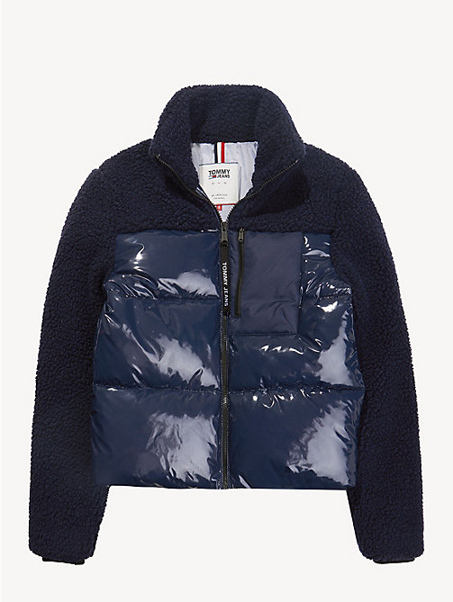 TOMMY JEANS Regular Fit Contrast Sherpa Jacket - BLACK IRIS - TOMMY JEANS Coats & Jackets - detail image 1