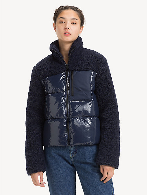 TOMMY JEANS Regular Fit Contrast Sherpa Jacket - BLACK IRIS - TOMMY JEANS Coats & Jackets - main image