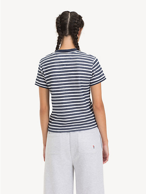 TOMMY JEANS Cropped Fit Stripe T-Shirt - BLACK IRIS / CLASSIC WHITE - TOMMY JEANS Tops - detail image 1