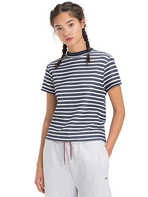 TOMMY JEANS Cropped Fit Stripe T-Shirt - BLACK IRIS / CLASSIC WHITE - TOMMY JEANS Tops - main image