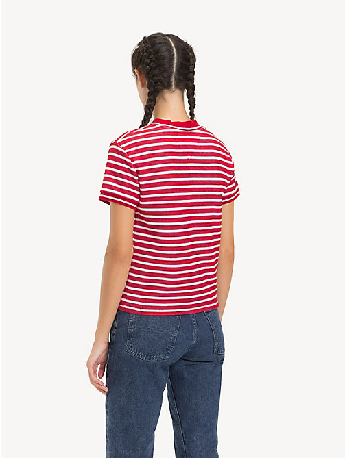 TOMMY JEANS Cropped Fit Stripe T-Shirt - SAMBA / CLASSIC WHITE -  Tops - detail image 1