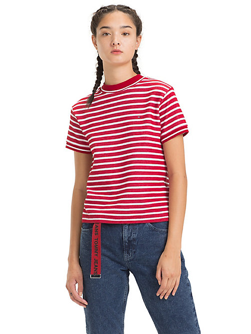 TOMMY JEANS Cropped Fit Stripe T-Shirt - SAMBA / CLASSIC WHITE -  Tops - main image