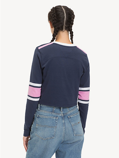 TOMMY JEANS Cropped Long Sleeve T-Shirt - BLACK IRIS - TOMMY JEANS Tops - detail image 1