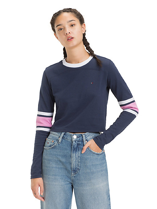 TOMMY JEANS Cropped Long Sleeve T-Shirt - BLACK IRIS - TOMMY JEANS Tops - main image