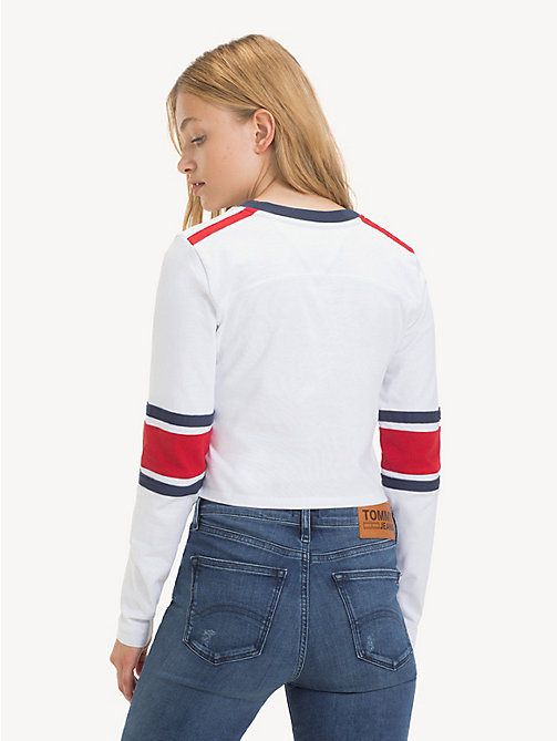 TOMMY JEANS Cropped Long Sleeve T-Shirt - CLASSIC WHITE - TOMMY JEANS Tops - detail image 1