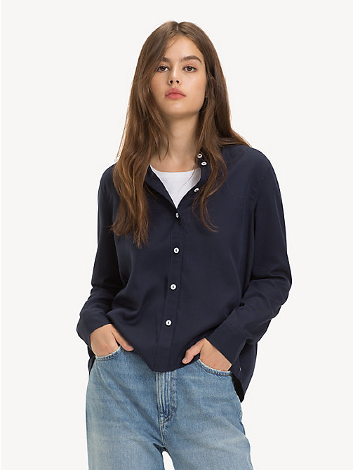 TOMMY JEANS Button-Through Blouse - BLACK IRIS - TOMMY JEANS Tops - main image