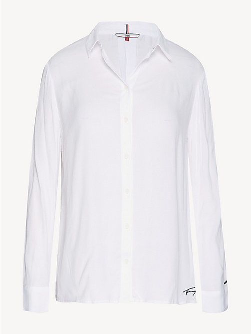 TOMMY JEANS Poplin A-Line Shirt - CLASSIC WHITE - TOMMY JEANS Tops - detail image 1