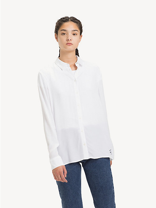 TOMMY JEANS Poplin A-Line Shirt - CLASSIC WHITE - TOMMY JEANS Tops - main image