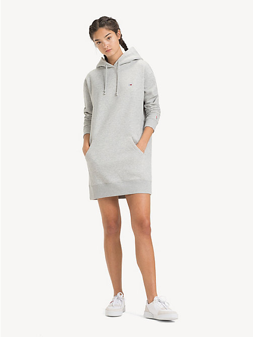 TOMMY JEANS Robe sweat à capuche Tommy Classics - LT GREY HTR - TOMMY JEANS Robes & Jupes - image principale
