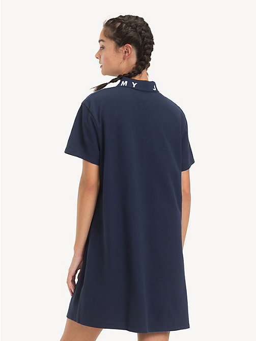 TOMMY JEANS Logo Collar Polo Dress - BLACK IRIS - TOMMY JEANS Dresses - detail image 1
