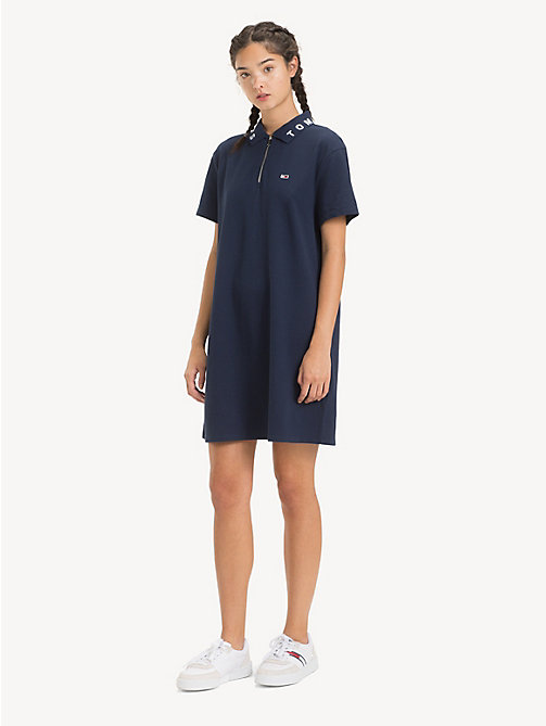 TOMMY JEANS Logo Collar Polo Dress - BLACK IRIS - TOMMY JEANS Dresses - main image