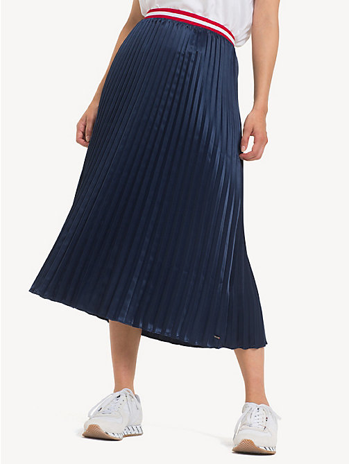 TOMMY JEANS Pleated Satin Skirt - BLACK IRIS - TOMMY JEANS Trousers & Skirts - detail image 1