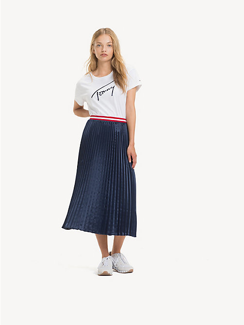 TOMMY JEANS Pleated Satin Skirt - BLACK IRIS - TOMMY JEANS Trousers & Skirts - main image