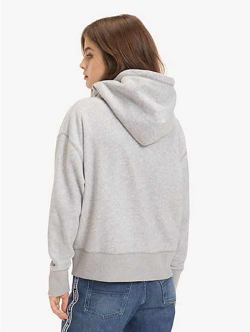 TOMMY JEANS Logo Fleece Hoody - LT GREY HTR - TOMMY JEANS Sweatshirts & Hoodies - detail image 1