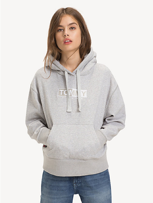 TOMMY JEANS Logo Fleece Hoody - LT GREY HTR - TOMMY JEANS Sweatshirts & Hoodies - main image
