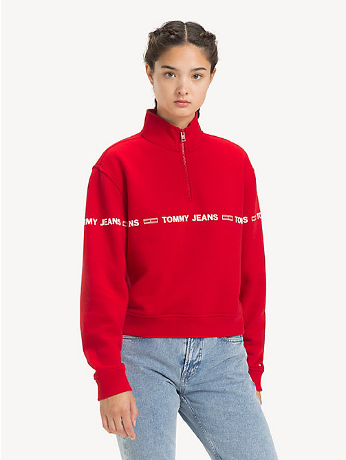 TOMMY JEANS Logo Tape Fleece Sweatshirt - SAMBA - TOMMY JEANS Sweatshirts & Hoodies - main image
