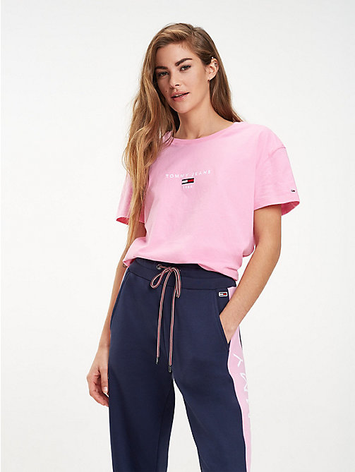 TOMMY JEANS Cropped Fit Logo T-Shirt - LILAC CHIFFON - TOMMY JEANS Tops - main image