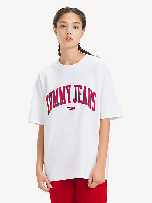 TOMMY JEANS Oversized Logo T-Shirt - CLASSIC WHITE - TOMMY JEANS Tops - main image