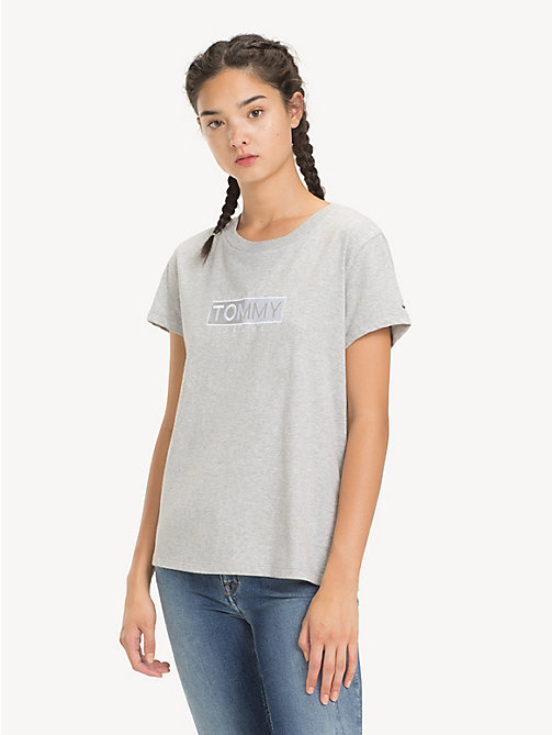 TOMMY JEANS Crew Neck Logo T-Shirt - LT GREY HTR - TOMMY JEANS Tops - main image