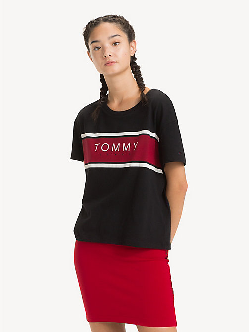 TOMMY JEANS Cropped Fit Logo T-Shirt - TOMMY BLACK - TOMMY JEANS Tops - main image