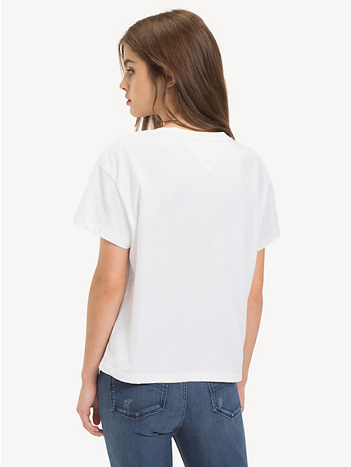 TOMMY JEANS Cropped fit T-shirt met logo - CLASSIC WHITE - TOMMY JEANS Tops - detail image 1
