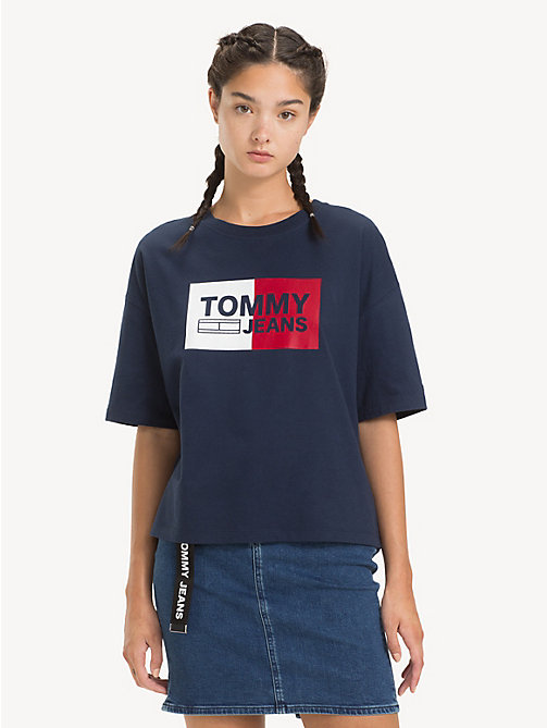 TOMMY JEANS Cropped Boxy Fit T-Shirt - BLACK IRIS -  Tops - main image
