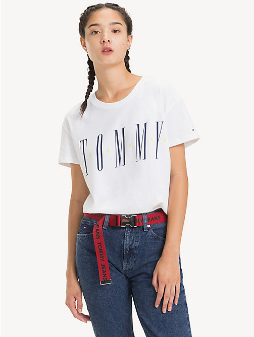 TOMMY JEANS Crew Neck Logo T-Shirt - CLASSIC WHITE - TOMMY JEANS Tops - main image