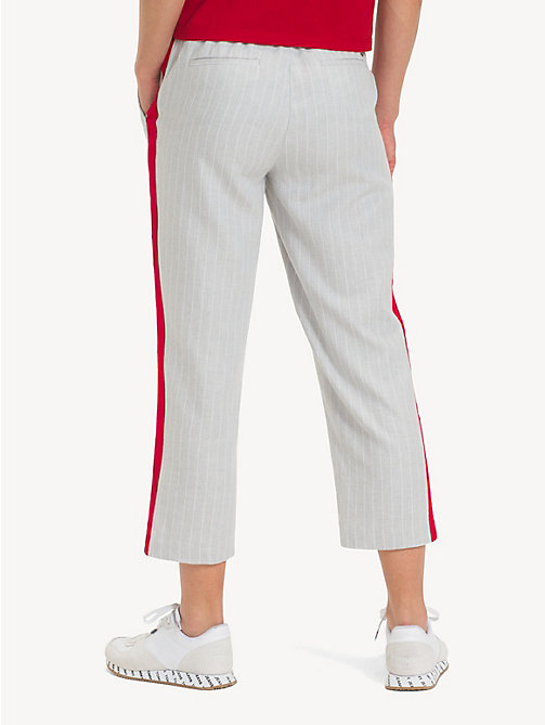 TOMMY JEANS Pinstripe Cropped Trousers - LT GREY HTR / CLASSIC WHITE - TOMMY JEANS Trousers & Skirts - detail image 1