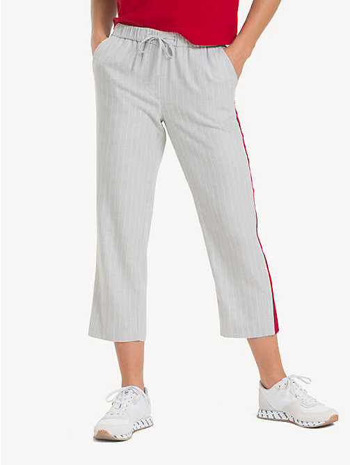 TOMMY JEANS Pinstripe Cropped Trousers - LT GREY HTR / CLASSIC WHITE - TOMMY JEANS Trousers & Skirts - main image